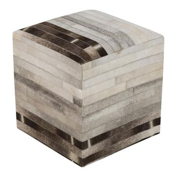 "Surya Inc 18"" x 18"" Pouf in Taupe, Mocha and Ash Gray, , large"