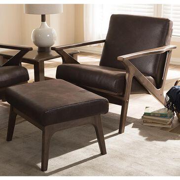 Baxton Studio Bianca Lounge Chair and Ottoman Set in Dark Brown, , large