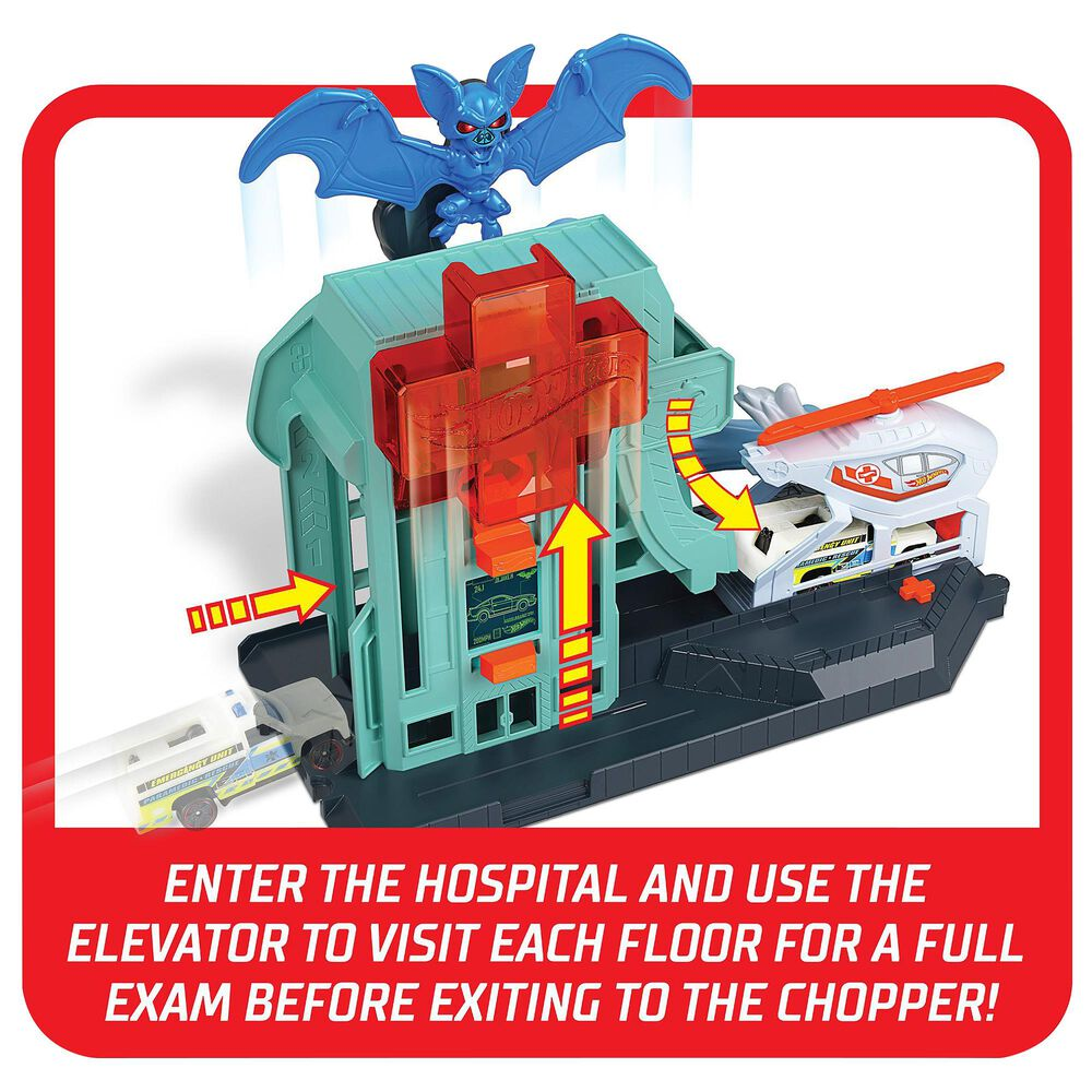 Mattel City Bat Blitz Hospital Attack Playset, , large