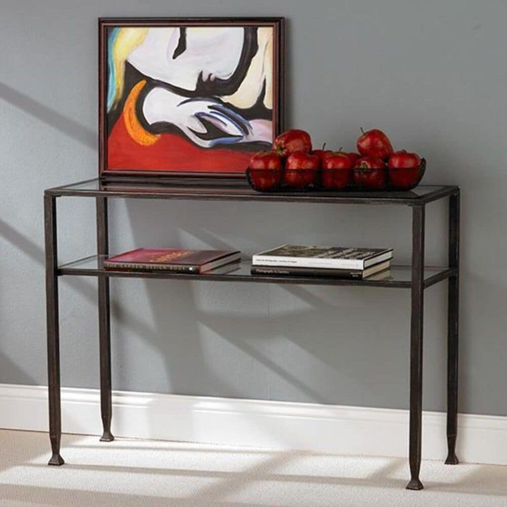 Southern Enterprises Metal Base and Glass Top Console Table in Black, , large