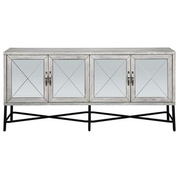 Shell Island Furniture 4-Door Media Credenza in Gabby Haze White, , large