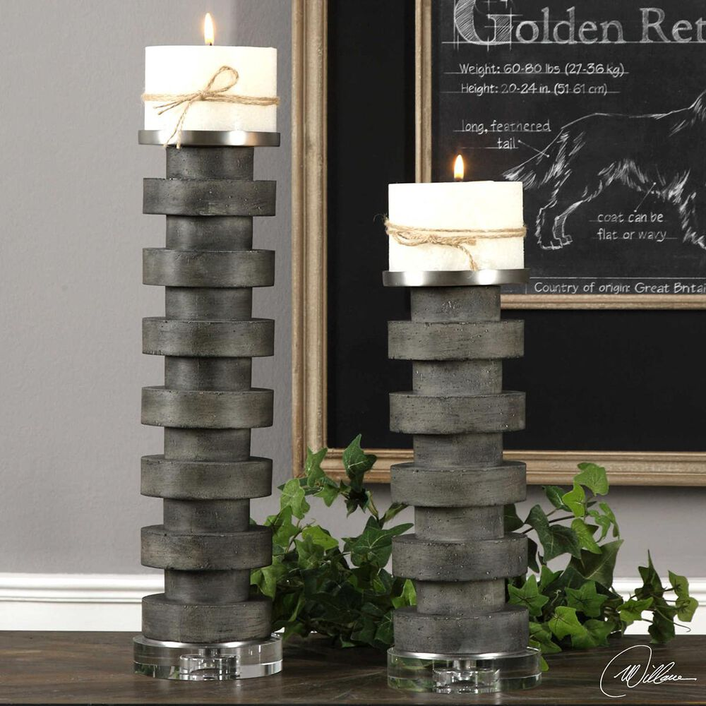 Uttermost Table Top Candleholders in Nickel (Set of 2), , large