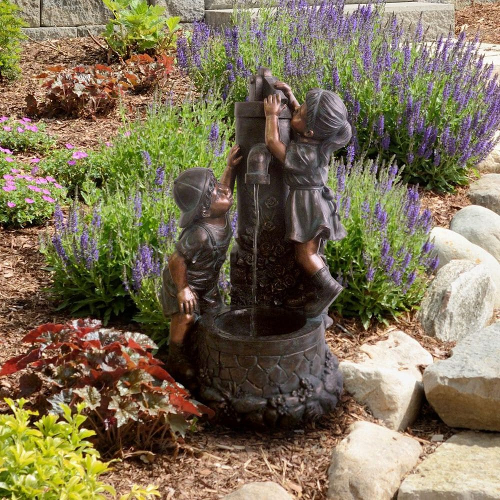 Timberlake Boy and Girl Water Outdoor Fountain, , large