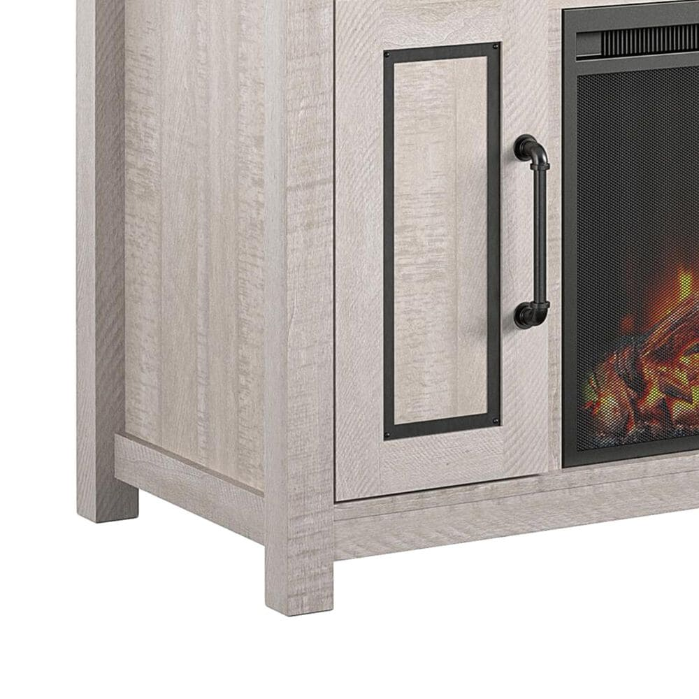 """DHP Dorset 48"""" TV Stand with Fireplace in Rustic White/Old Wood White, , large"""