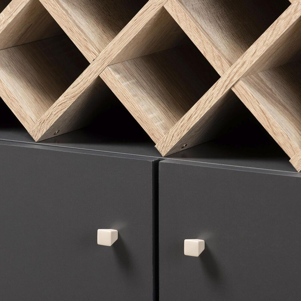 Baxton Studio Serafino Wine Cabinet in Dark Grey/Oak Brown, , large