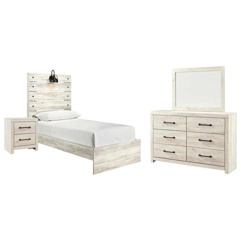 Signature Design by Ashley Cambeck 4 Piece Twin Bed Set in Whitewash with Lighting, , large