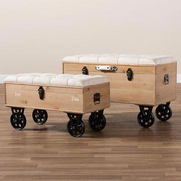 Baxton Studio Finlay 2-Piece Storage Ottoman Set in Beige/Brown/Black, , large