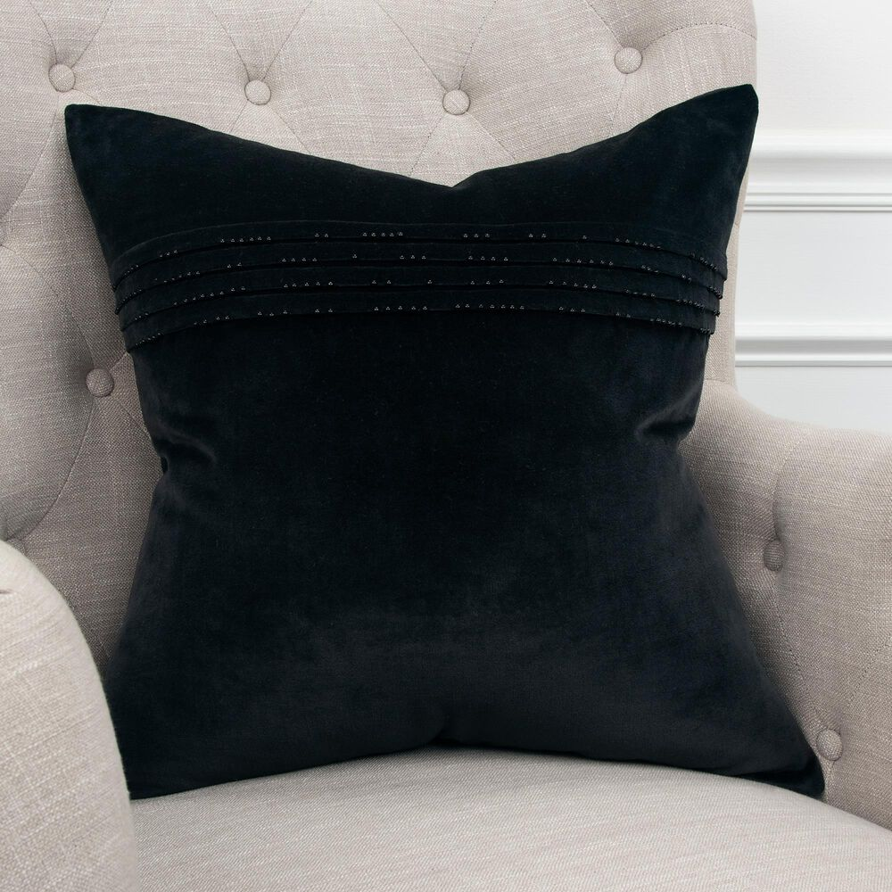 """Rizzy Home Solid 20"""" Pillow Cover in Black, , large"""