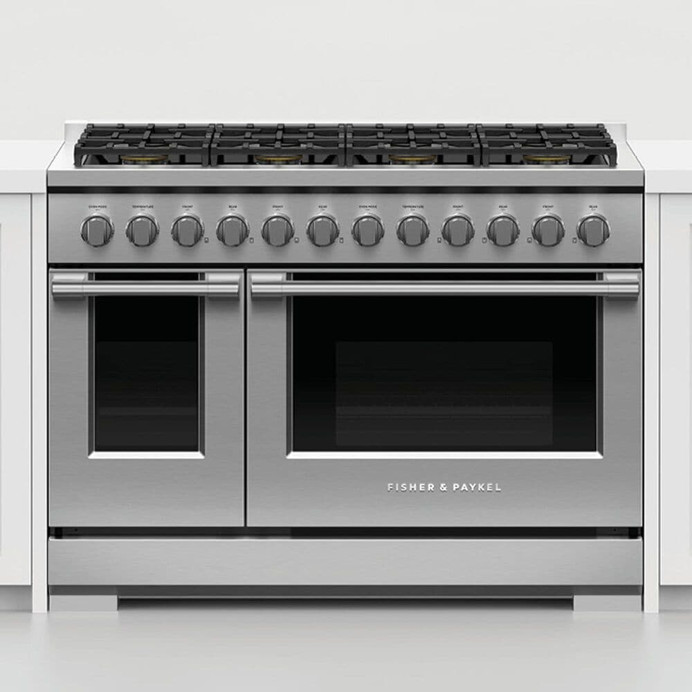 """Fisher and Paykel 48"""" Freestanding Liquid Propan Gas Range with 8 Burners in Stainless Steel, , large"""