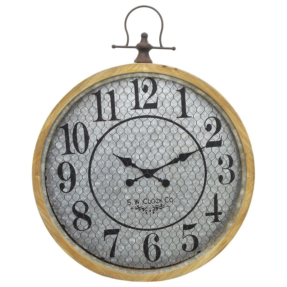 Three Hands Wall Clock with Wood Frame and Chicken Wire Front in Brown, , large