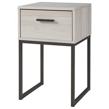 Signature Design by Ashley Socalle 1 Drawer Nightstand in Natural and Dark Pewter, , large
