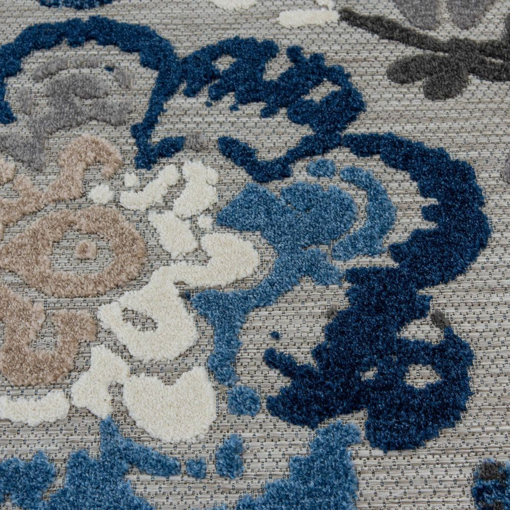"""Central Oriental Fontana Pakuna 1650.61 7'10"""" x 9'10"""" Gray and Blue Area Rug, , large"""