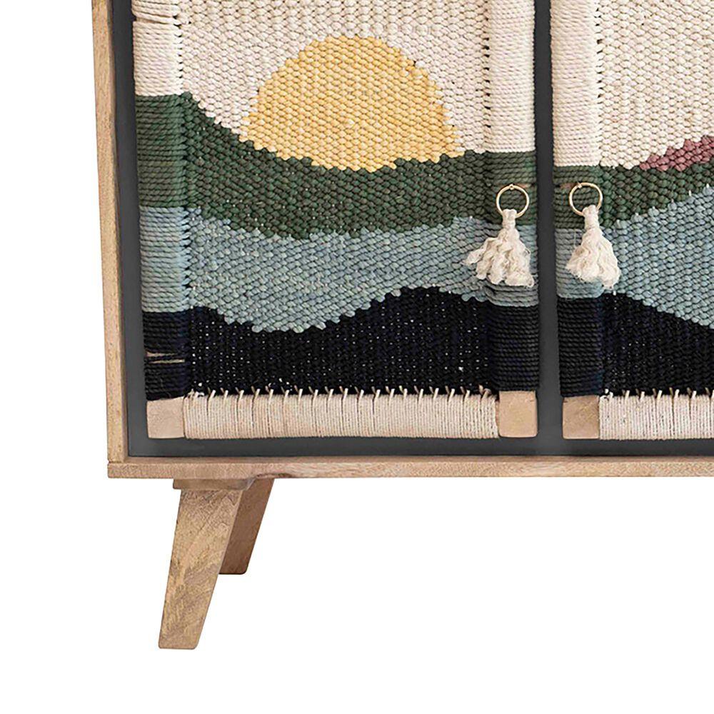 Teak Interiors Surf 3-Door Mango Wood Console with Woven Rope Scene, , large