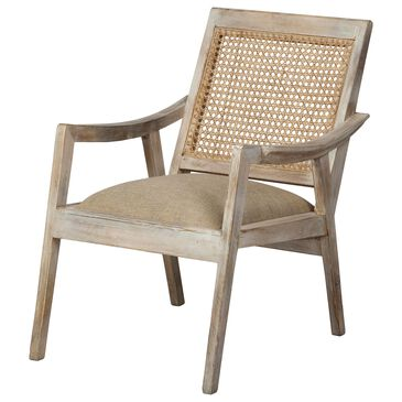 Mercana Teryn Armchair in Natural Wood and Cream, , large