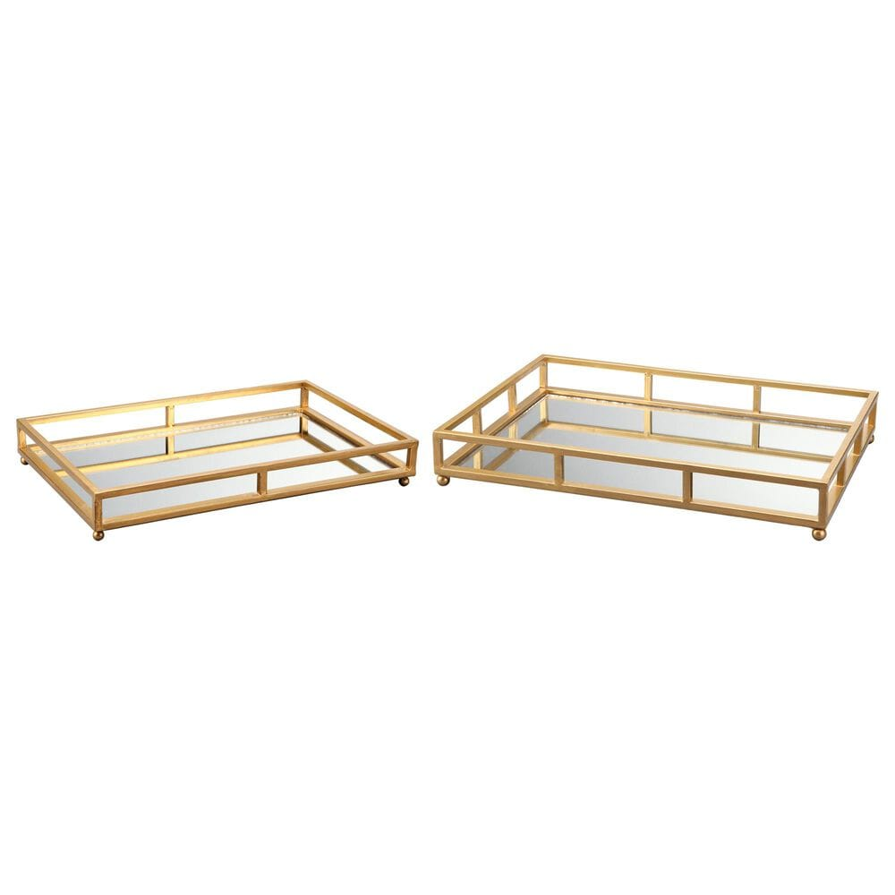Moe's Home Collection Grid Tray Rectangle in Gold (Set of 2), , large