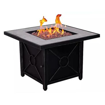 Foremost Groups Colton Square Firepit with Lid in Black, , large