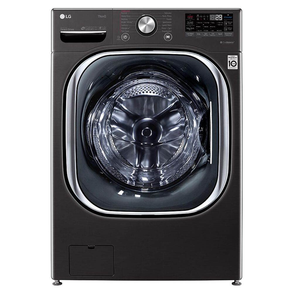 LG 5.0 Cu. Ft. Front Load Washer and 7.4 Cu. Ft. Electric Dryer Laundry Pair in Black Steel, , large