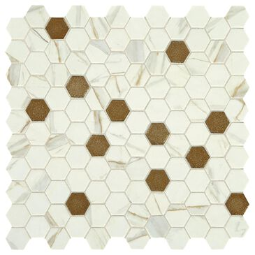 "Dal-Tile Uptown Glass Posh Chiffon 1"" x 1"" Hexagon on 12"" x 12"" Glass Mosaic Sheet, , large"