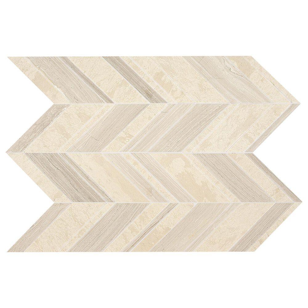 "Dal-Tile Limestone Fusion Blanc 22"" x 12"" Chevron Random Honed Mosaic Sheet, , large"