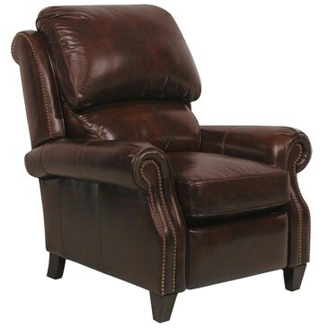 Barcalounger Churchill Leather Push Back Recliner in Double Fudge, , large