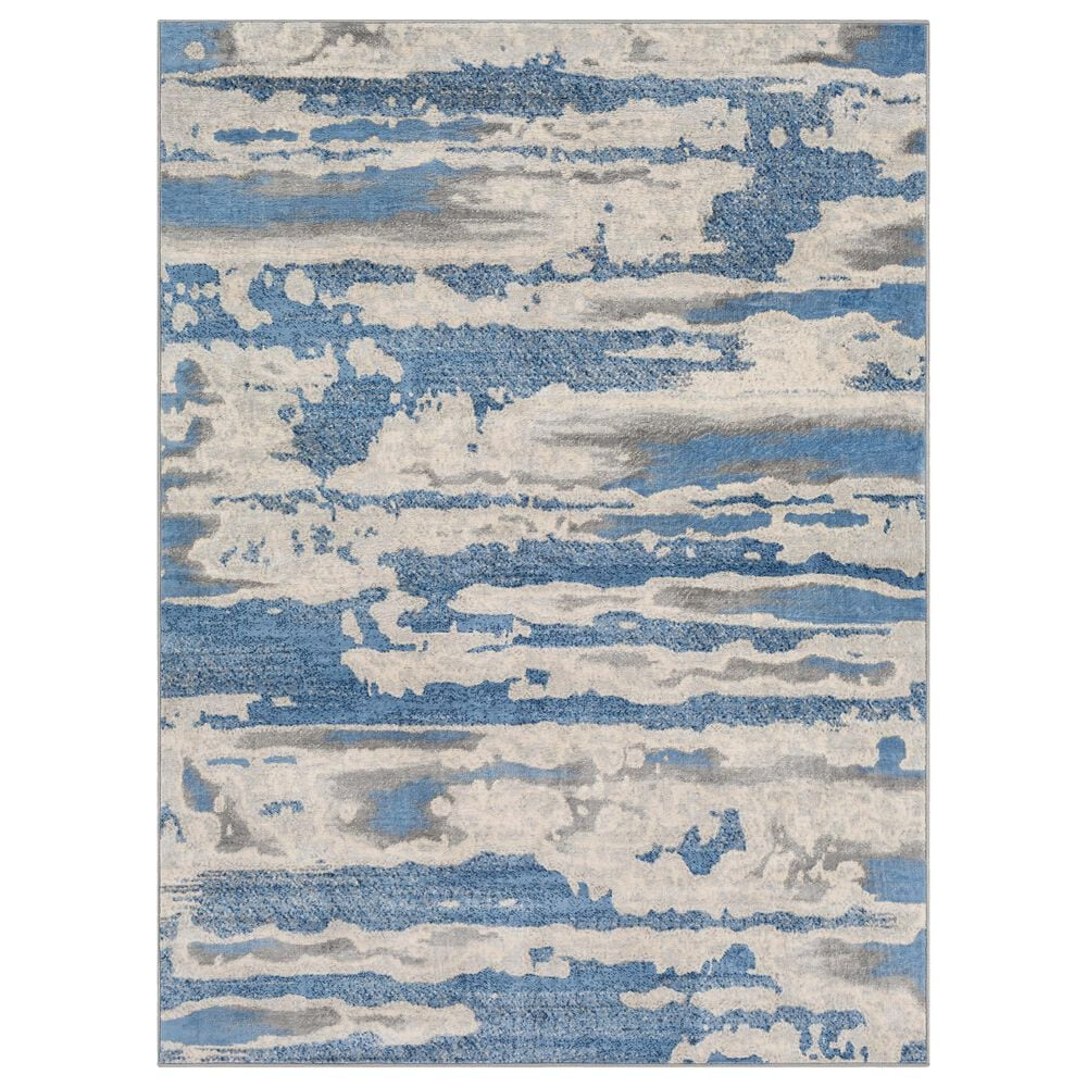 """Surya Monaco MOC-2312 4'3"""" x 6' Bright Blue and Silver Gray Area Rug, , large"""
