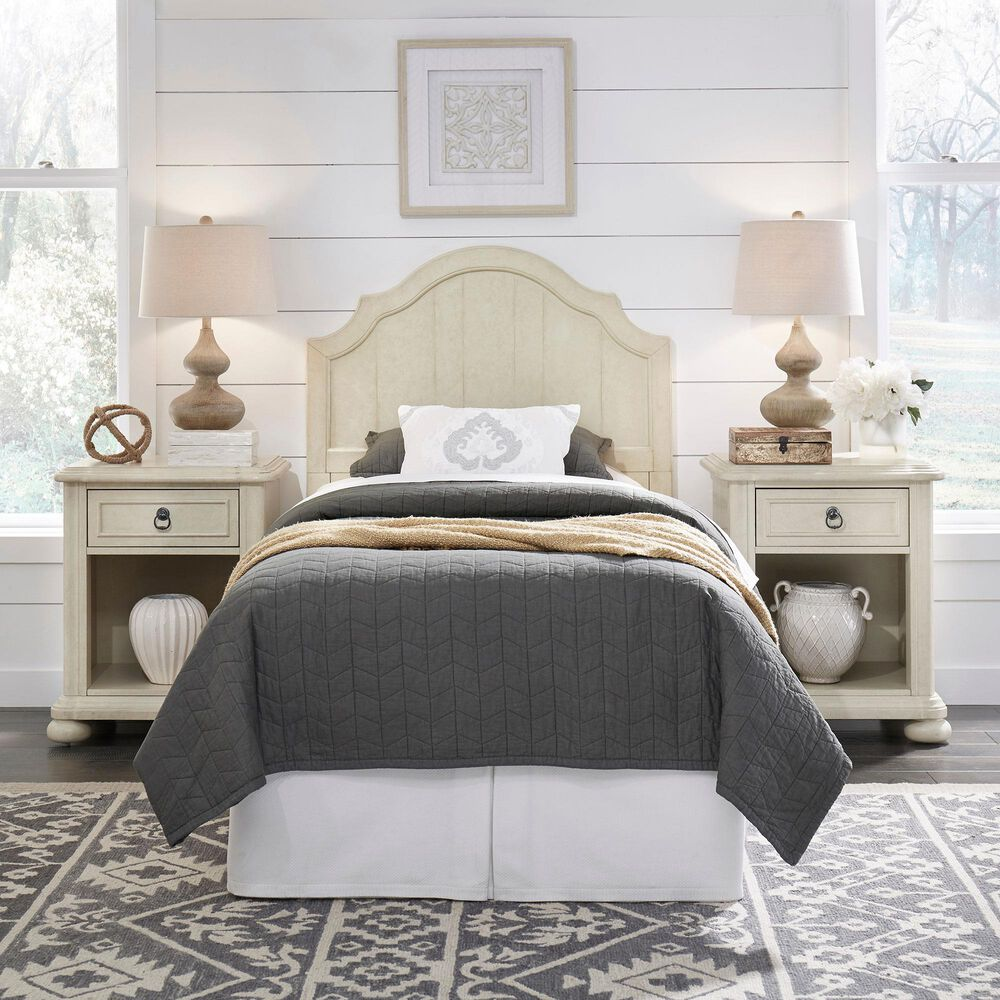 Home Styles Provence Twin Headboard in Antiqued White, , large