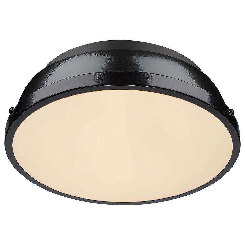 "Golden Lighting Duncan 14"" Flush Mount in Matte Black and Glossy Black, , large"