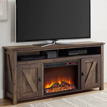 "DHP Farmington 60"" TV Console with Fireplace in Century Barn Pine, , large"