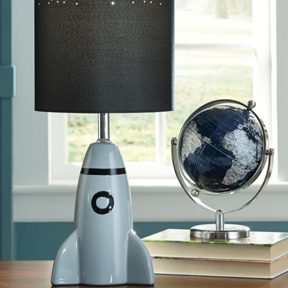 Signature Design by Ashley Cale Ceramic Table Lamp in Gray and Black, , large