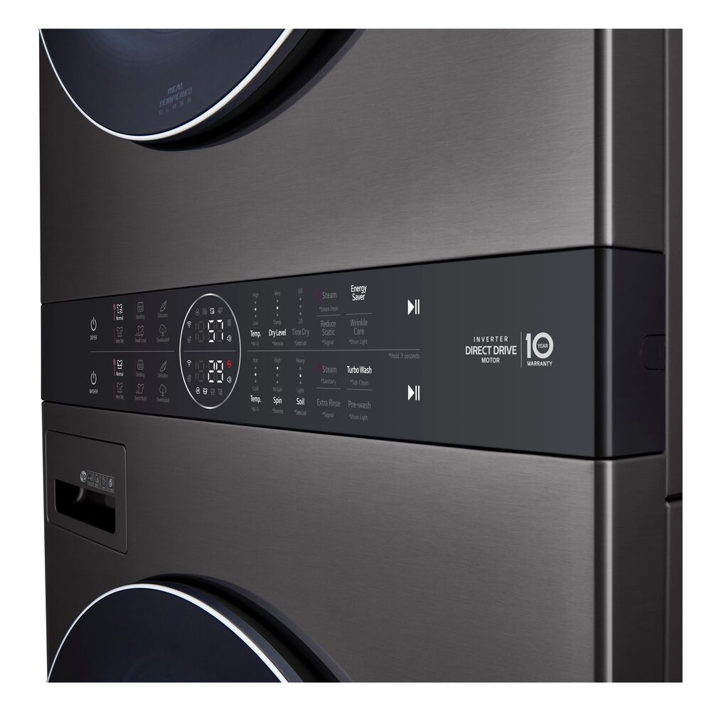LG Single Unit Front Load LG WashTower with Center Control 4.5 Cu. Ft. Washer and 7.4 Cu. Ft. Gas Dryer in Black Stainless Steel , , large