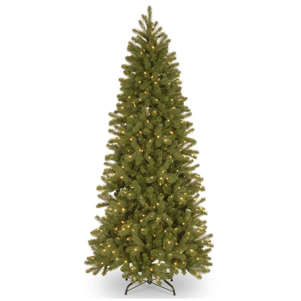 """National Tree 7"""" Feel Real Downswept Douglas Fir Pencil Slim Hinged Tree with 300 Dual Color LED Lights, , large"""