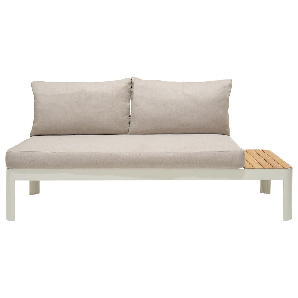 Blue River Portals Patio Sofa in Light Sand and Beige and Teak, , large
