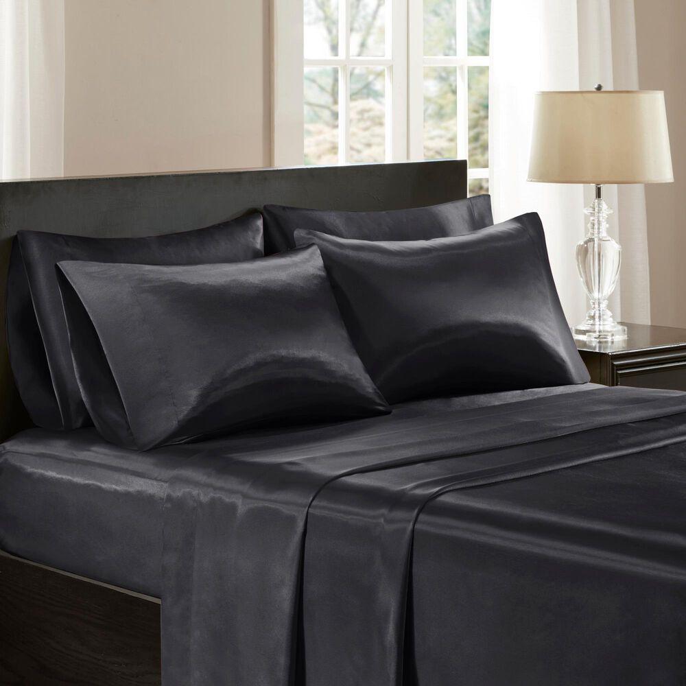 Hampton Park Satin 6-Piece King Sheet Set in Black, , large
