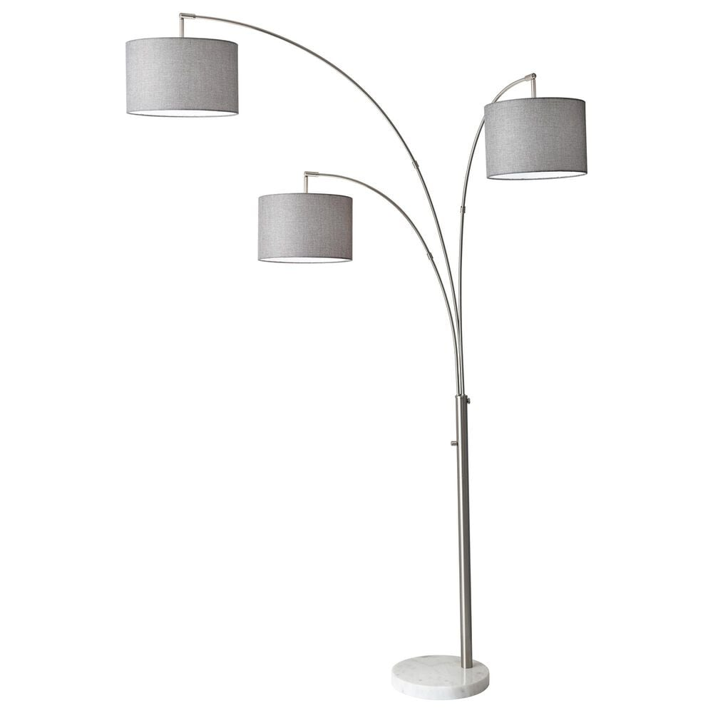 Adesso Bowery 3-Arm Arc Floor Lamp in Brushed Steel, , large