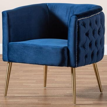 Baxton Studio Marcelle Accent Chair in Navy Blue, , large