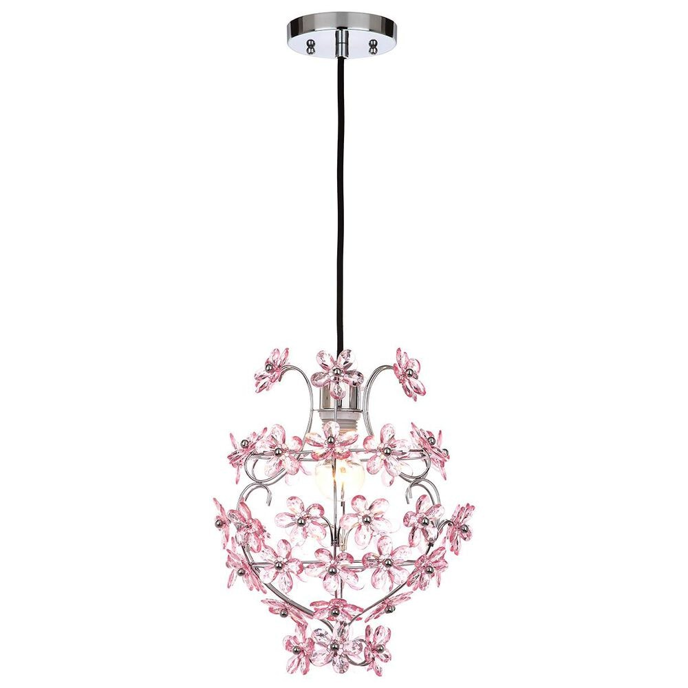 "Safavieh Raz Floral 11.75"" Pendant in Chrome/Pink, , large"