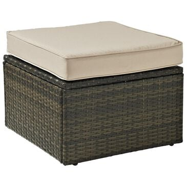 Crosley Furniture Palm Harbor Wicker Ottoman With Sand Cushion, , large