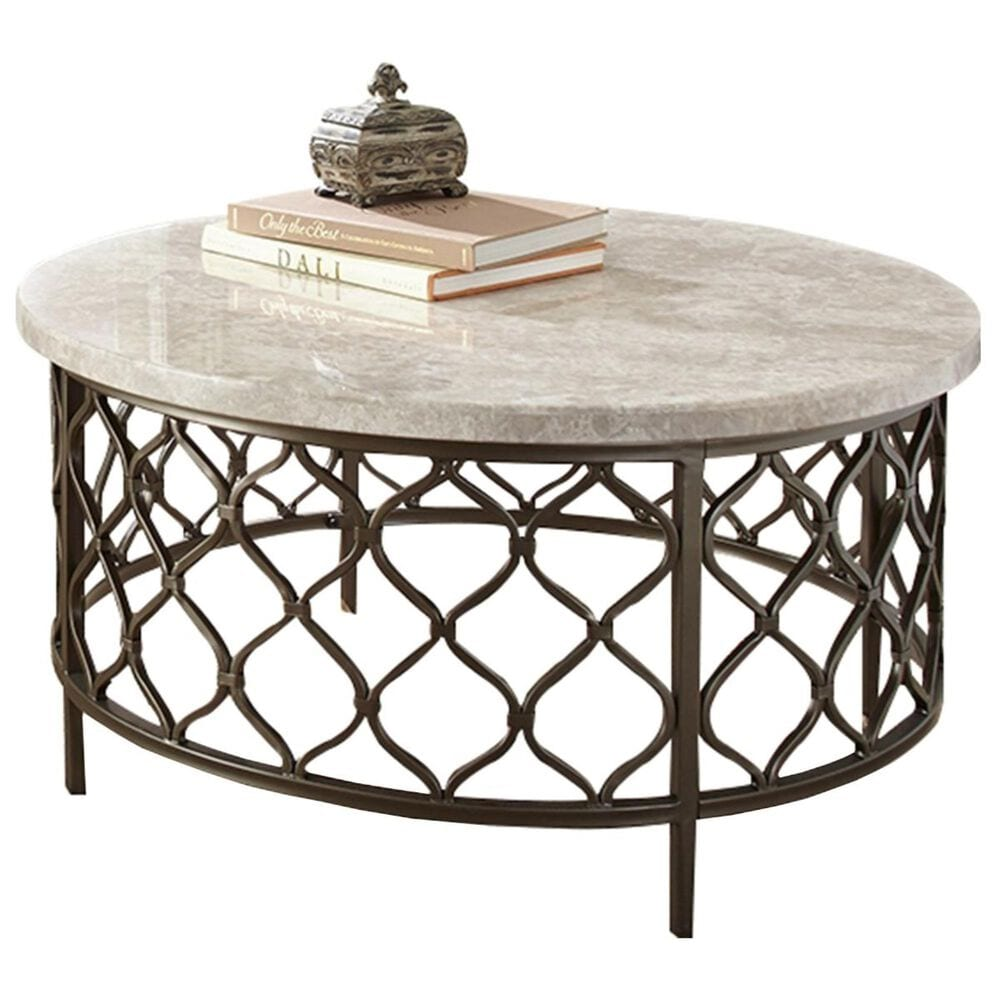 at HOME Roland Cocktail Table in White Stone and Bronze, , large
