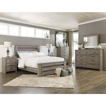 Signature Design by Ashley Zelen 5 Piece Queen Bedroom Set in Warm Gray, , large