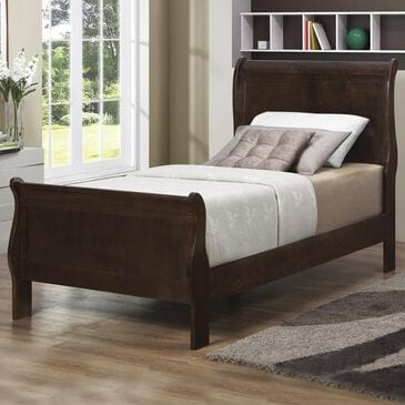 Pacific Landing Louis Philippe Twin Sleigh Bed in Cappuccino , , large