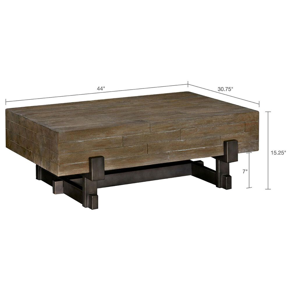 Hampton Park Timber Coffee Table in Reclaimed Brown/ Gun Metal, , large