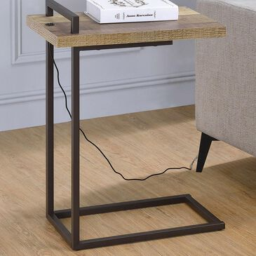 Pacific Landing C Table with USB Port in Weathered Pine and Dark Bronze, , large