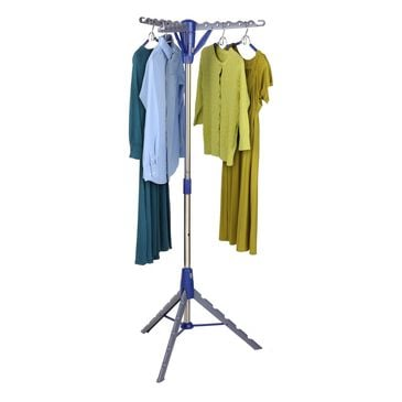 Honey Can Do Folding Tripod Drying Rack in Gray and Blue, , large
