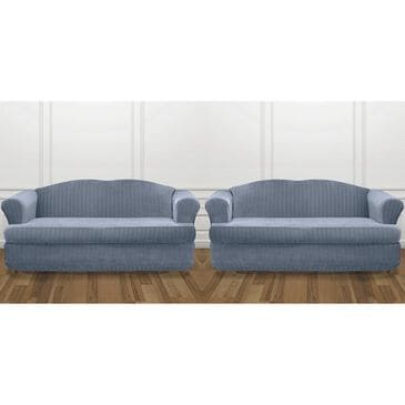 Surefit 2-Piece T-Cushion Sofa Slipcover in French Blue, , large