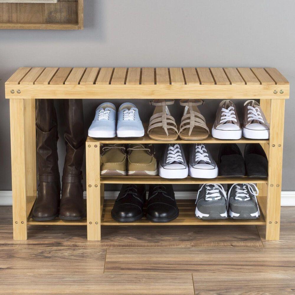 Timberlake Lavish Home 3 Tiers Bamboo Shoe Rack Bench in Bamboo, , large