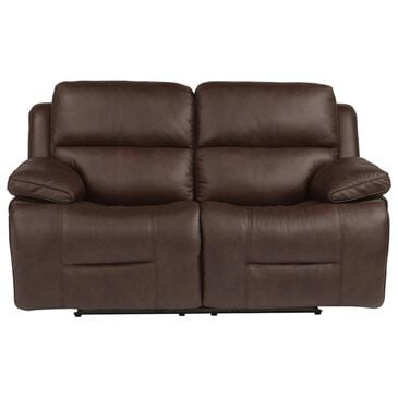Flexsteel Apollo Leather Power Loveseat with Headrest in Brown, , large