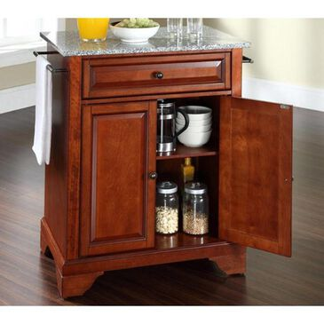Crosley Furniture Lafayette Solid Granite Top Portable Kitchen Island in Classic Cherry, , large