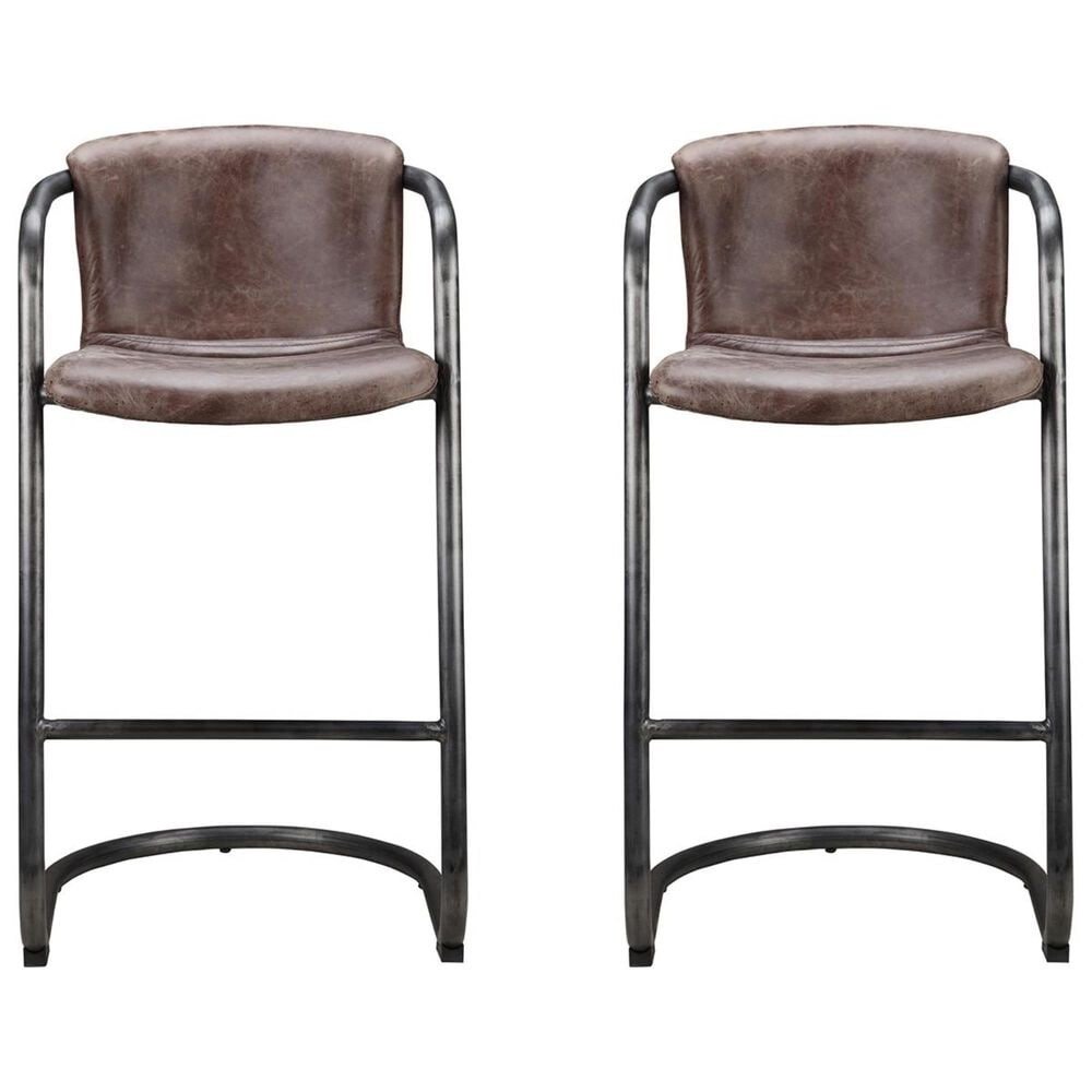 Moe's Home Collection Freeman Bar Stool in Light Brown SET OF TWO, , large