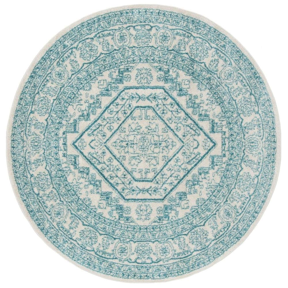 Safavieh Adirondack ADR108G 6' Round Ivory and Teal Area Rug, , large