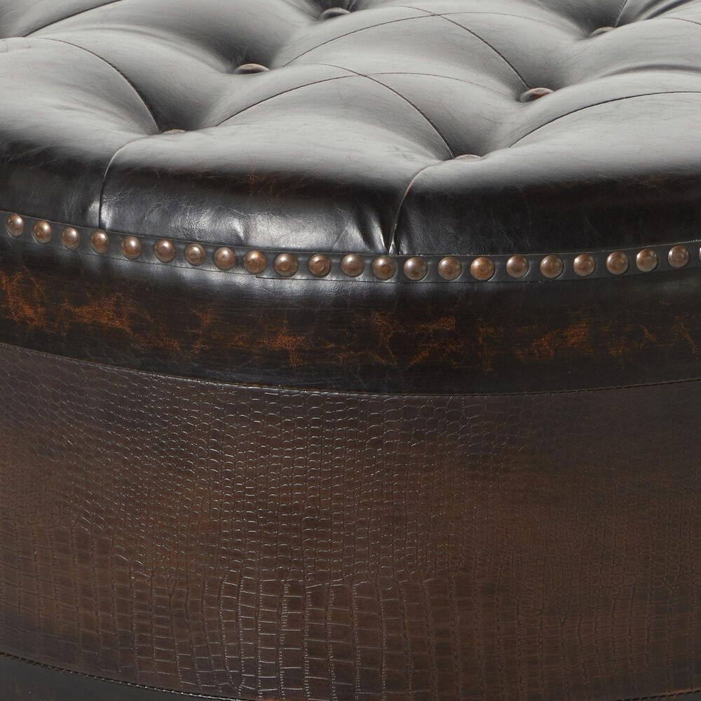 Maple and Jade Assorted Ottomans in Brown Faux Leather (Set of 3), , large